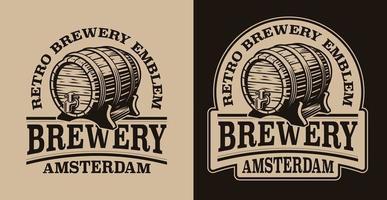 un emblème vintage noir et blanc pour le thème de la bière