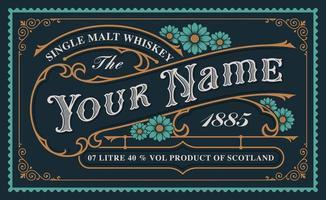 un modèle d'étiquette de whisky vintage vecteur