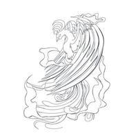 illustration vectorielle dessinés à la main de phoenix