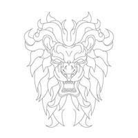 illustration vectorielle dessinés à la main de lion en colère