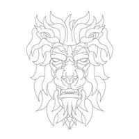 illustration vectorielle dessinés à la main de lion en colère vecteur