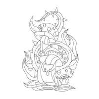 illustration vectorielle dessinés à la main du monstre aux champignons