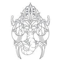 illustration vectorielle dessinés à la main d'éléphant