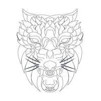 illustration vectorielle dessinés à la main du loup