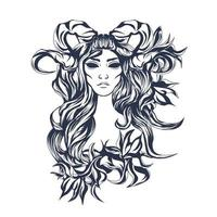 illustration illustration encrage dame rose vecteur