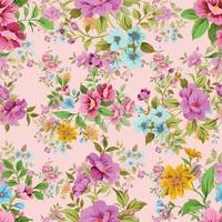 motif floral sans couture fleur vintage mignon vecteur