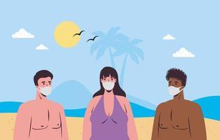 personnes en maillot de bain, distanciation sociale et portant des masques à la plage vecteur