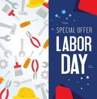 bannière publicitaire de promotion de vente de fête du travail avec des outils et un casque vecteur