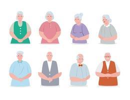 groupe de personnes âgées mignonnes, grands-parents souriants vecteur