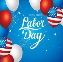 bannière publicitaire de promotion de vente de fête du travail avec des ballons