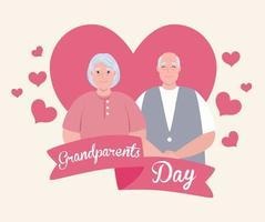 bannière de célébration de la journée des grands-parents heureux avec un joli couple de personnes âgées vecteur