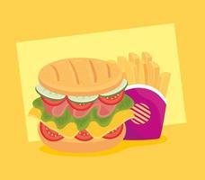 sandwich avec frites, combo restauration rapide vecteur