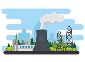 production de l'industrie énergétique avec une scène de centrale électrique vecteur