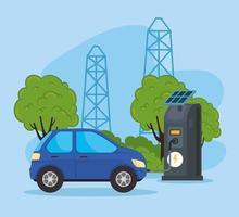 voiture électrique dans une station de recharge avec panneaux solaires vecteur
