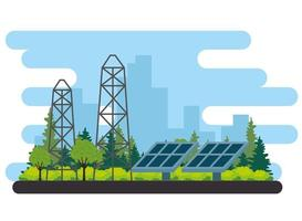 Scène alternative d'énergie de panneaux solaires vecteur
