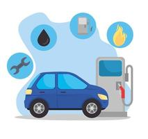 voiture dans la station-service avec des icônes d'huile vecteur