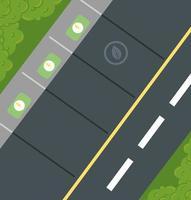 vue de dessus d'un parking pour voitures écologiques vecteur