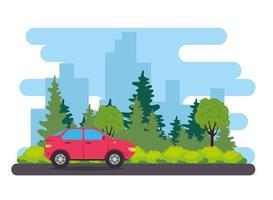 Véhicule de voiture berline rouge sur la route, avec la nature vecteur