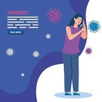 femme malade pour le modèle de bannière de pandémie de coronavirus vecteur