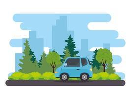 Véhicule de voiture berline bleue sur la route avec la nature vecteur