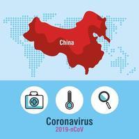 bannière de pandémie de coronavirus avec carte de la chine vecteur
