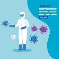 professionnel de la santé dans une combinaison de matières dangereuses pour le modèle de bannière de pandémie de coronavirus vecteur