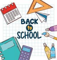 retour à la bannière de l & # 39; école avec des fournitures éducatives