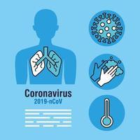 bannière de pandémie de coronavirus avec silhouette et icônes du corps vecteur