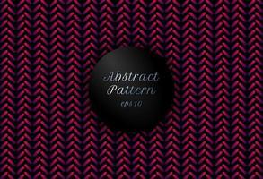 Les lignes arrondies géométriques abstraites de couleur dégradé rose et violet forment un motif chevron sur fond noir. vecteur