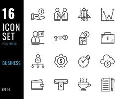 ensemble de 16 icônes d'affaires, style de ligne mince vecteur