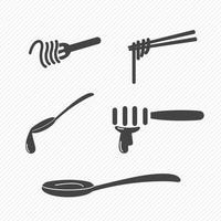 Icônes de fourchette et cuillère et baguettes isolés sur fond blanc vecteur