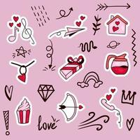Élément de valentine dessiné à la main coloré vecteur