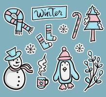 collection d'autocollants d'hiver colorés dessinés à la main vecteur