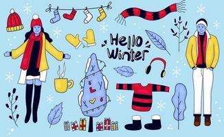 collections d'icônes et d'autocollants d'hiver dessinés à la main vecteur