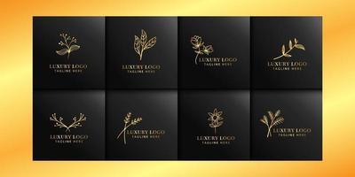 collections de logo floral de luxe avec or et noir vecteur