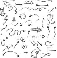 collection de doodle flèches dessinées à la main vecteur
