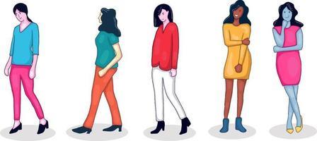collection de personnages colorés dessinés à la main vecteur