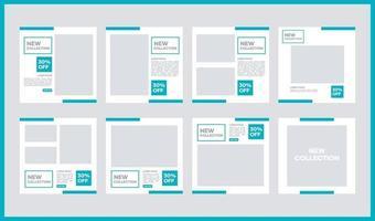 bundle de conception de modèle de vecteur de médias sociaux. avec une couleur vert clair sur fond blanc. convient aux publications sur les réseaux sociaux et à la publicité sur Internet sur les sites Web