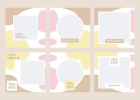conception de modèle de vecteur bundle de médias sociaux. avec une teinte esthétique de marron, jaune et rose. convient aux publications sur les réseaux sociaux et à la publicité sur Internet sur les sites Web