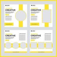 conception de modèle de publication de médias sociaux de vecteur pour les entreprises. avec couleur jaune et fond blanc. convient aux publications sur les réseaux sociaux d'entreprise et à la publicité sur Internet