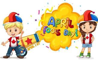 logo de police du jour du poisson d'avril avec des enfants portant un chapeau de bouffon