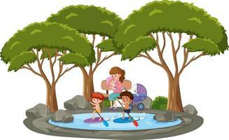 De nombreux enfants nageant dans l'étang avec de nombreux arbres sur fond blanc