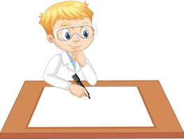 un garçon portant une robe de scientifique avec du papier vide sur la table vecteur