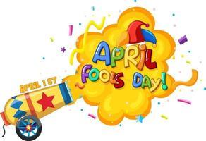 logo de police du jour du poisson d'avril avec chapeau de bouffon et explosion de confettis vecteur