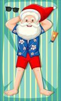 Père Noël prenant le personnage de dessin animé de bain de soleil isolé sur fond blanc