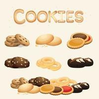 ensemble de biscuits faits maison, à utiliser pour le menu des desserts, illustration vectorielle.