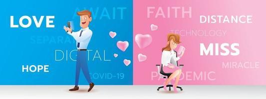 contact de dessin animé de couple avec émotion d'amour, la technologie numérique peut aider le concept de personnes vecteur