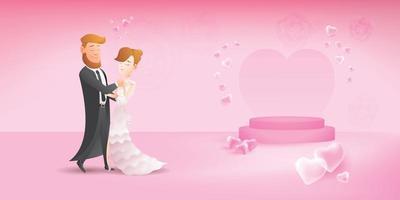 joli couple romantique à la date, compagnon de couple avec danse de salon lente vecteur