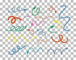 différents types de flèches courbes dessinées à la main vecteur