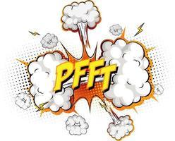 Texte pfft sur l'explosion de nuage comique isolé sur fond blanc vecteur